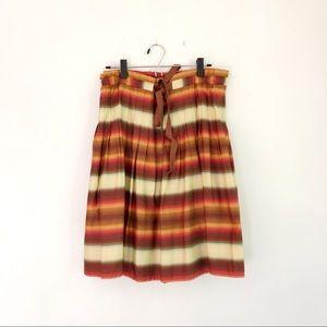 BCBG Pleated Ribbon-Striped Skirt